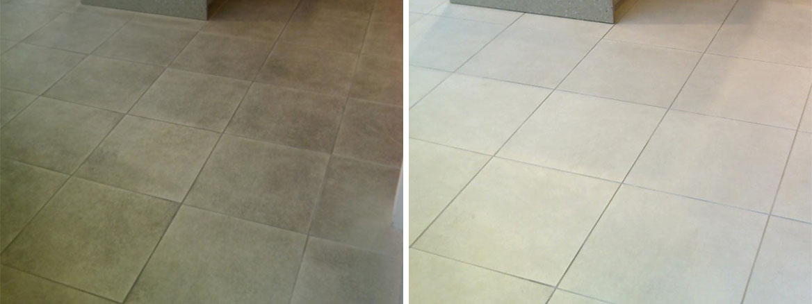 Textured Ceramic Tiled Shop Floor Before After Deep Cleaning Stirling